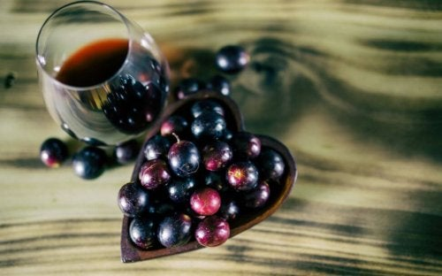 Blå vindruer og vin indeholder resveratrol