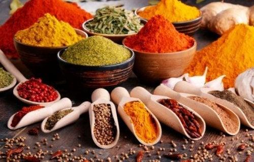 mange forskellige krydderier