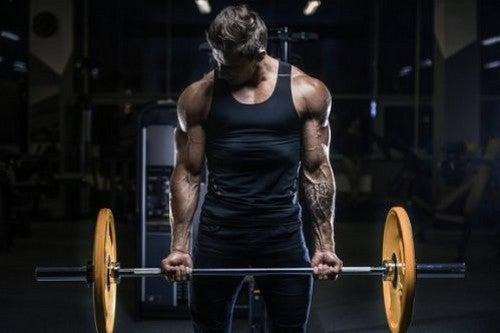 Mand træner vægtløftning i fitnesscenteret