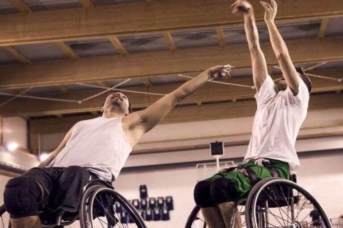 mænd der dyrker sport i kørestol