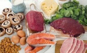 et eksempel på nogle af de fødevarer hvor vitamin B forekommer i høj grad