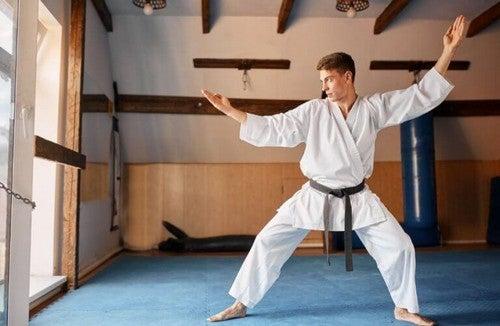 Mand dyrker kampsport