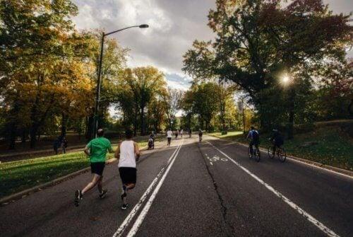 folk der løber og cykler på sti