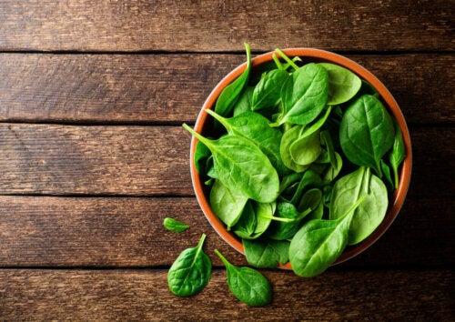 friske spinatblade i skål