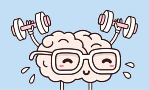 animation af hjerne med håndvægte
