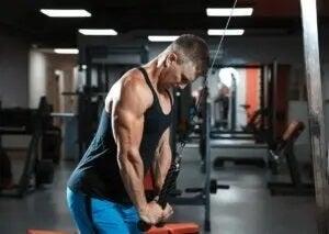 mand der træner triceps i fitnesscenter