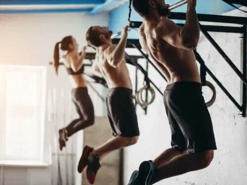 Tre persiner træner i pullup-bars