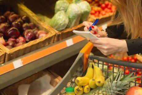 Einkaufsliste für neue Essgewohnheiten