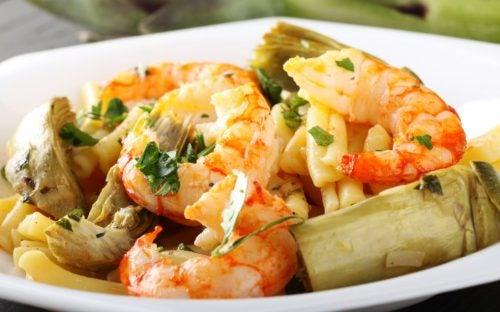 spaghetti-artichauts-crevettes