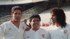 Simeone avec Diego Maradona