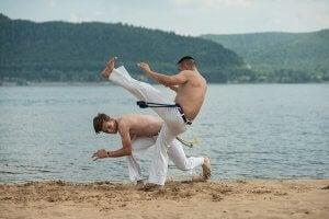 Deux hommes pratiquent des arts martiaux