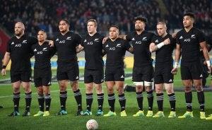 L'équipe de rugby de Nouvelle Zélande avant un match.