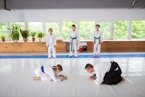 Cours d'aïkido avec des enfants.