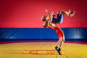 Combat de lutte olympique.