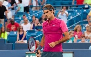 Parmi les meilleurs sportifs européens : Roger Federer lors d'un match.