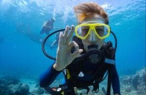 Un homme qui fait de la plongée sous-marine.