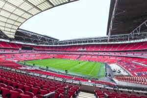 Le stade de Wembley, vide à cause de la suspension des matchs due au coronavirus