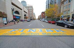 Ligne d'arrivée du marathon de Boston.