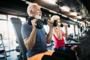 Un couple de personnes âgées qui travaillent la force des bras avec des haltères.