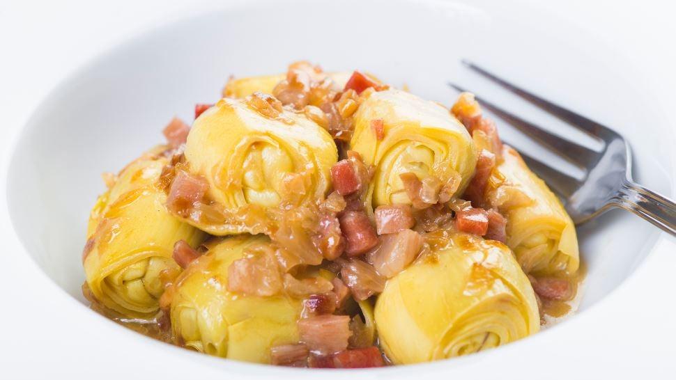 Ricetta con carciofi, prosciutto e cipolla