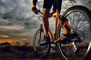 Uomo in bicicletta nella natura.