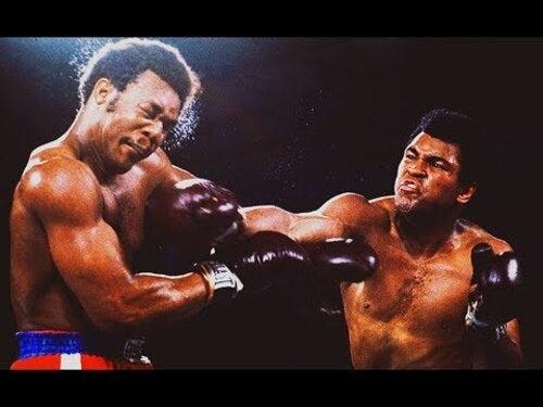 Ali e Foreman combattono sul ring