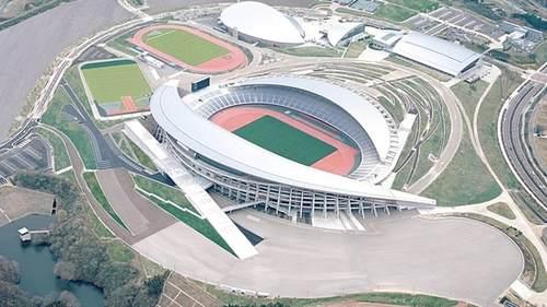 Vista aerea dello stadio Miyagi. Stadi Tokyo 2021.