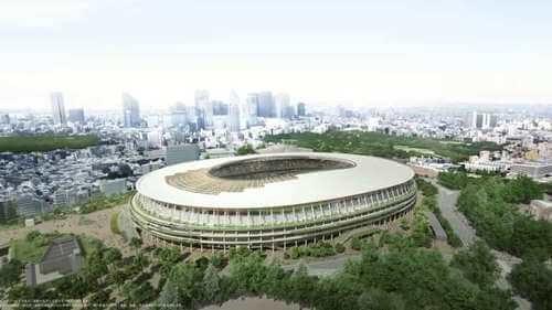 Esterno dello Stadio Olimpico di Tokyo. Stadi Tokyo 2021.