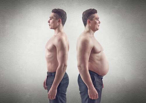 Confronto tra uomini con grasso addominale e senza grasso addominale.
