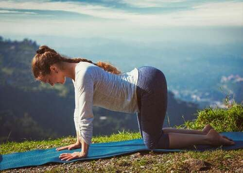 Posizione yoga marjaryyasana bitilasana.