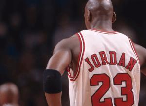 Chicago Bulls basketballspiller nummer 23 Michael Jordan.