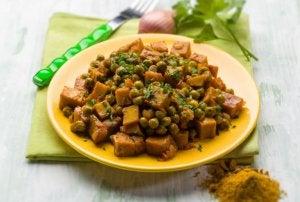 Gryterett med seitan, sopp og tomat som passer perfekt til veganere.