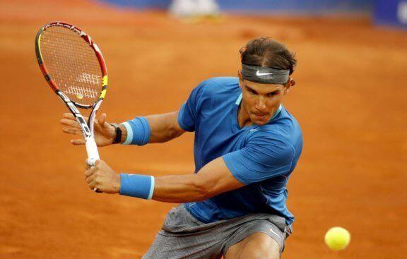 Rafael Nadal i full sving på leirbane