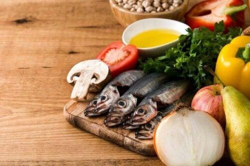 Fisk og grønnsaker.