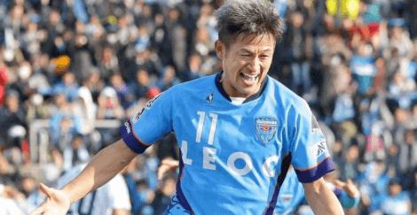 Kazuyoshi Miura etter å ha scoret et mål.