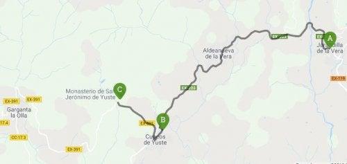kaart van carlos v route