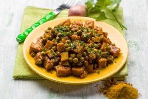 Seitan en geroerbakte groenten