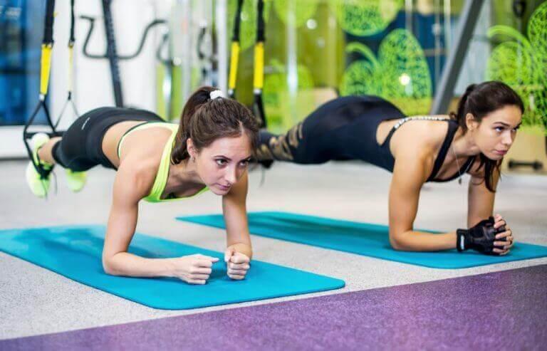 Dwie kobiety leżące na przedramionach na matach z zawieszonymi nogami na linach