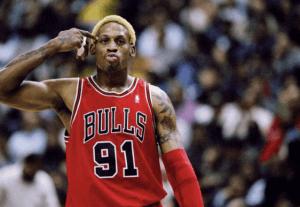 Denis Rodman w Bulls Michaela Jordana