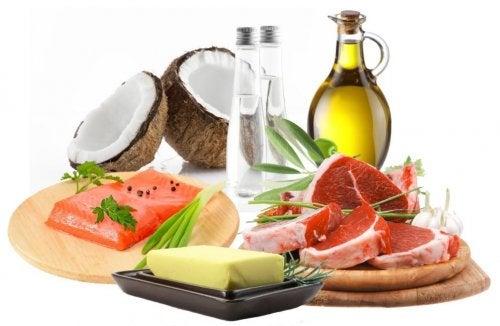 Fontes de gordura como coco, manteiga, salmão, carne e azeite