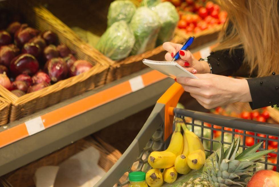 Lista de compras no supermercado