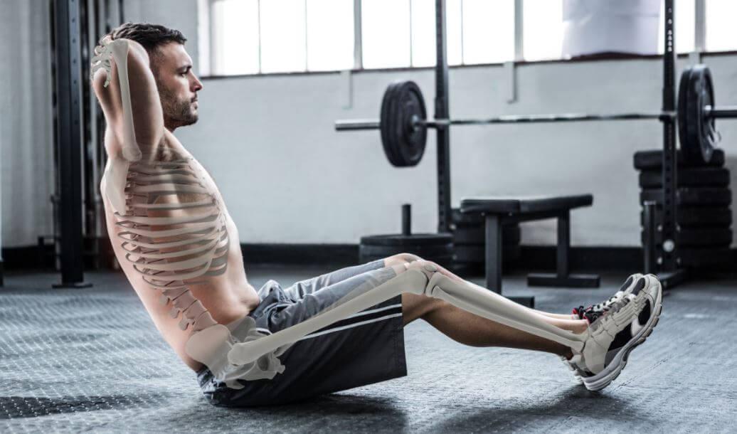 Figura humana com esqueleto desenhado fazendo exercício