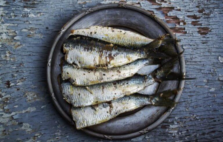 Um prato com vários filés de peixe
