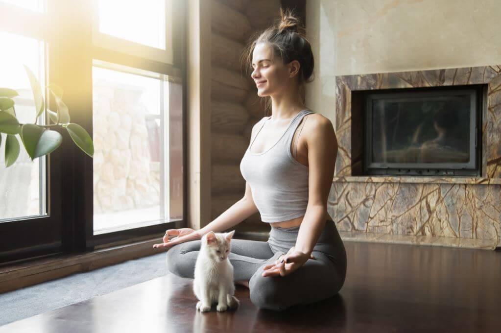 Mulher meditando com um gato
