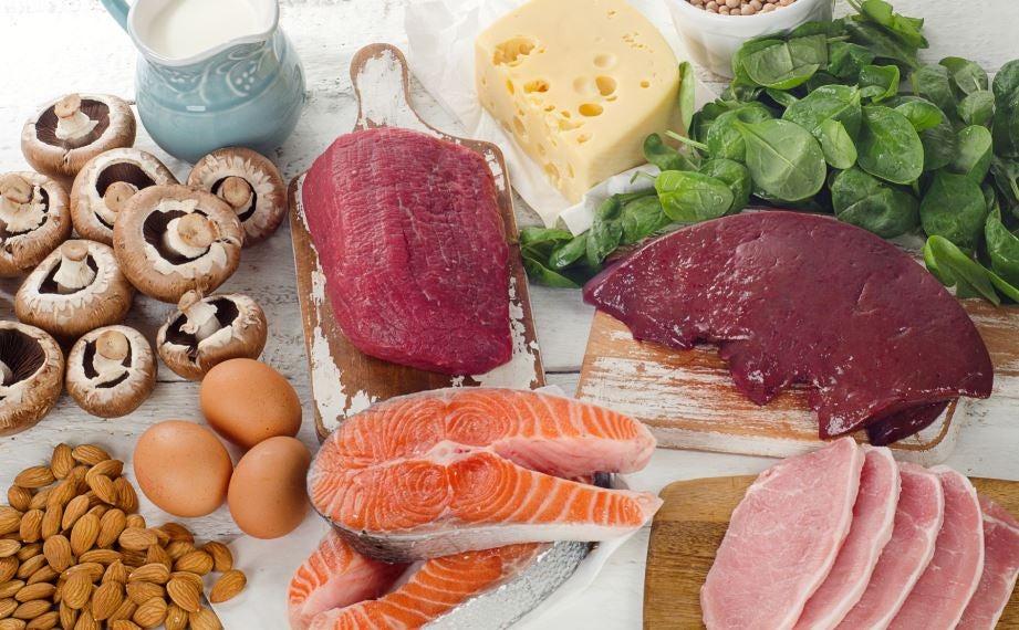 Peixes, ovos, carnes, queijo, cogumelos