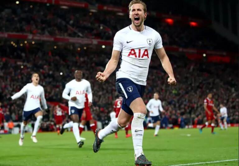 Harry Kane comemorando um gol