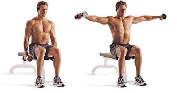 Elevação lateral sentado para os músculos romboides
