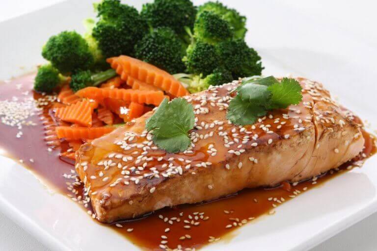 Filé de salmão teriyaki