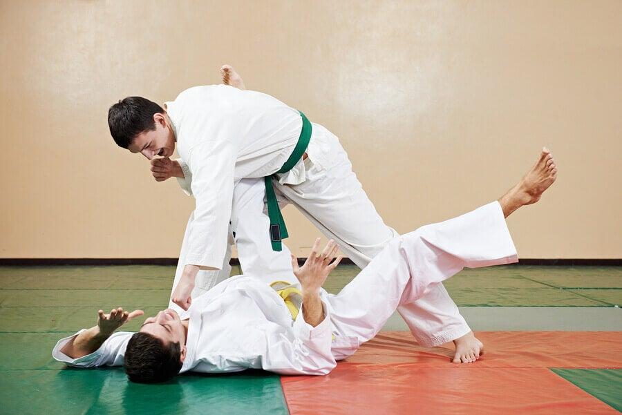 Homens lutando karatê