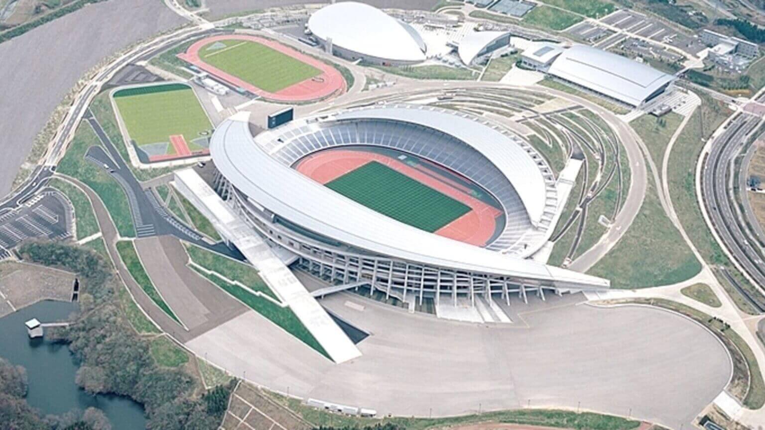 Vista aérea do estádio Miyagi.